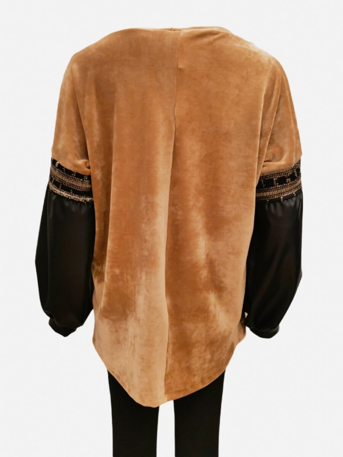 BEIGE VELVET TOP WITH ECO LEATHER SLEEVES