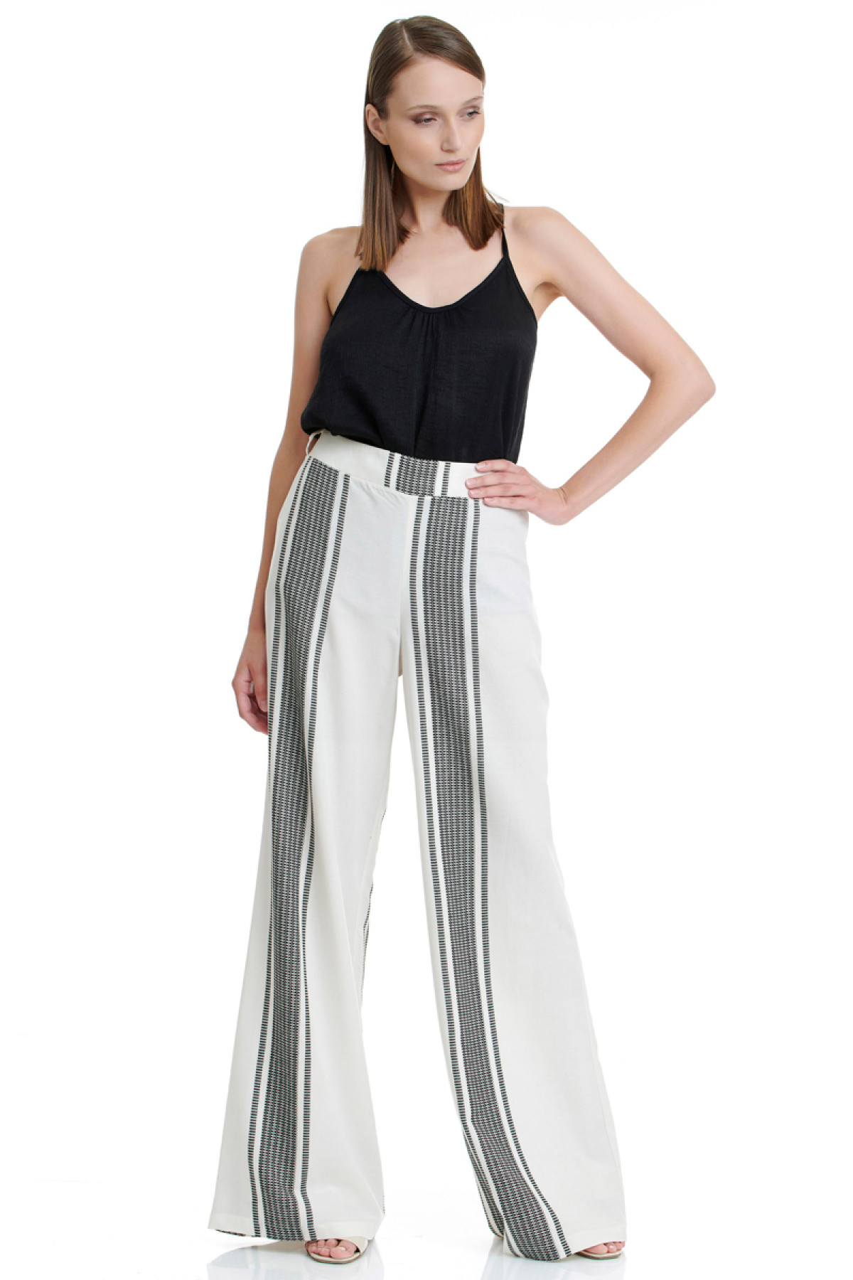 BLACK STRIPES WIDE LEG TROUSERS