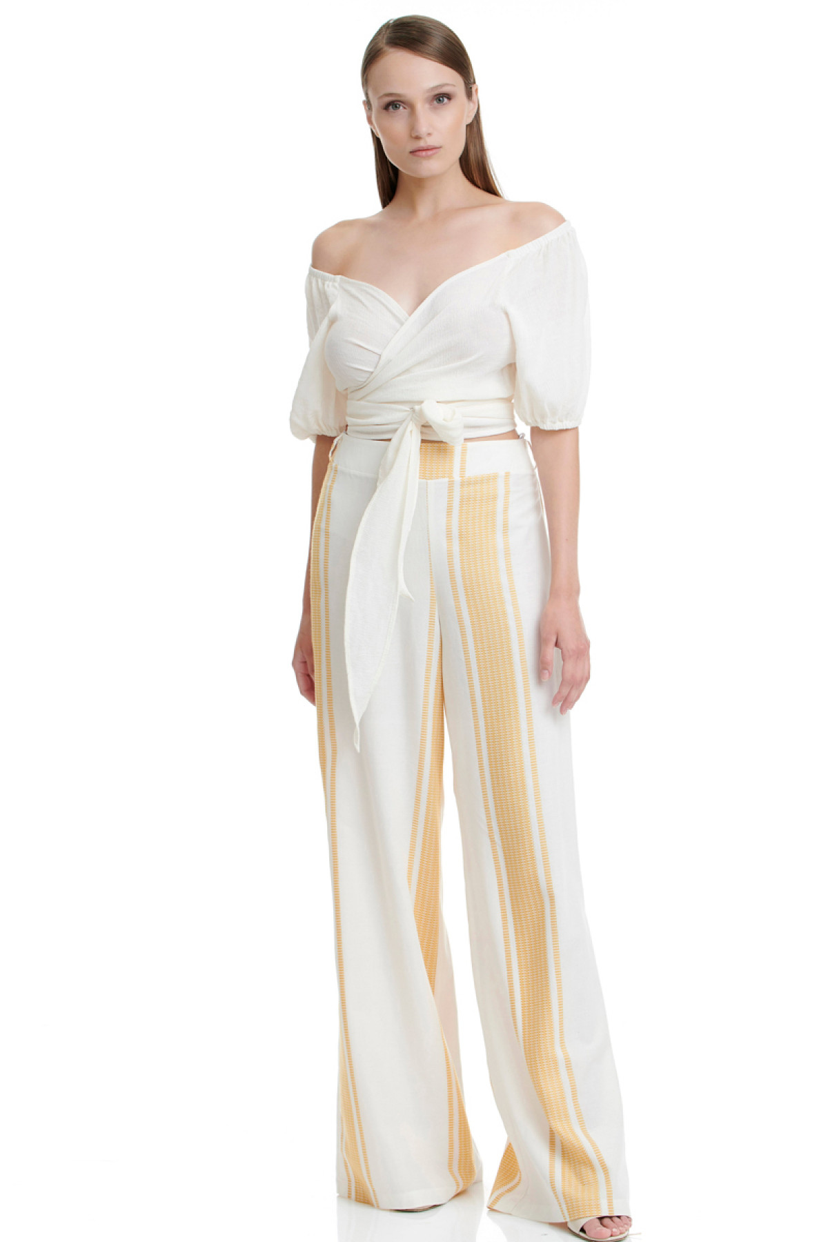 OCHER STRIPES WIDE LEG TROUSERS