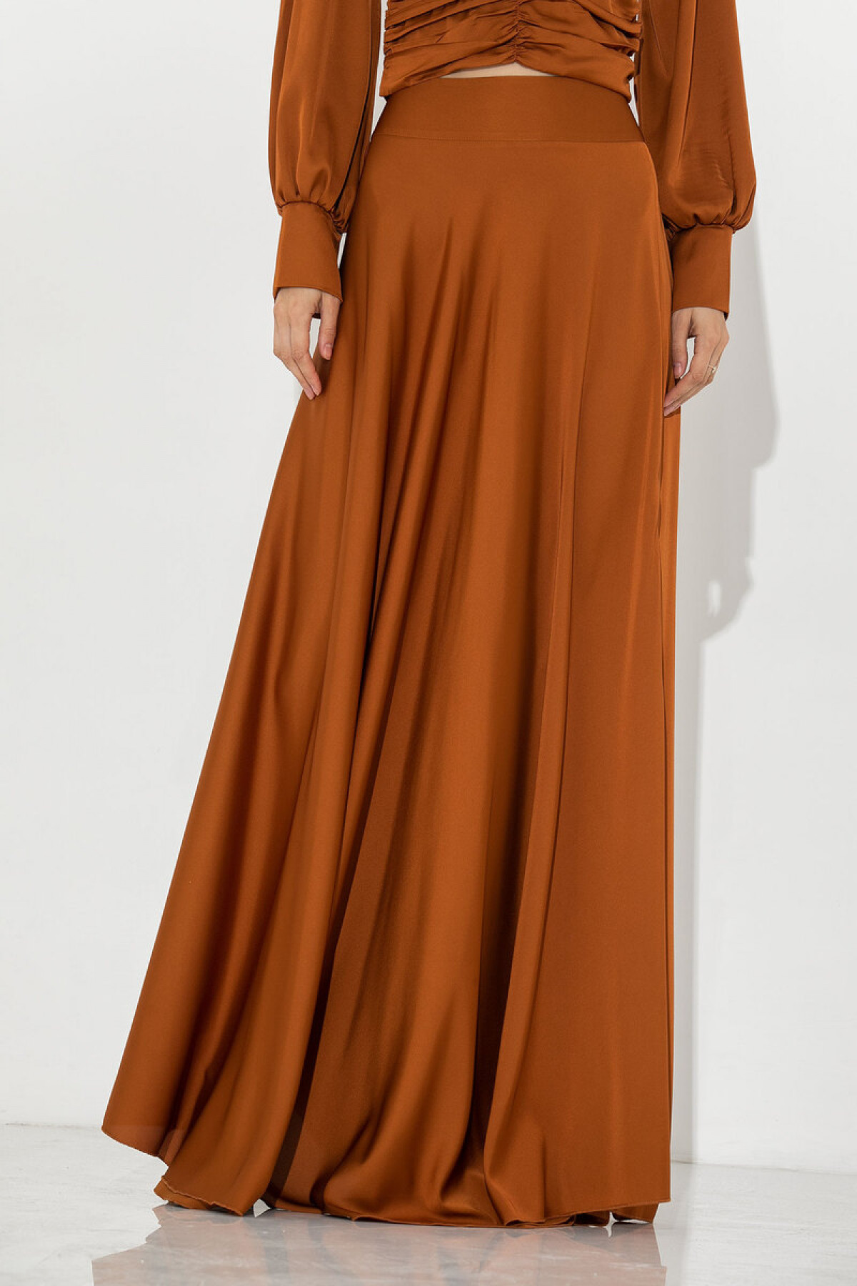 CARAMEL SATIN MAXI SKIRT