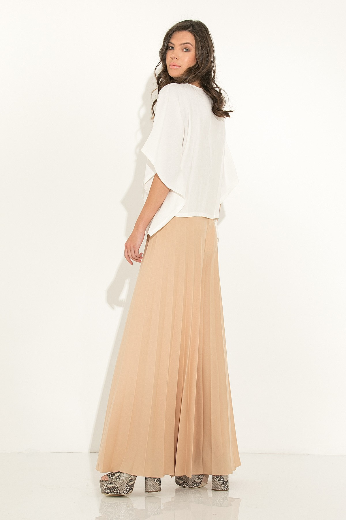 WIDE LEG PLEATED PANTS - beige