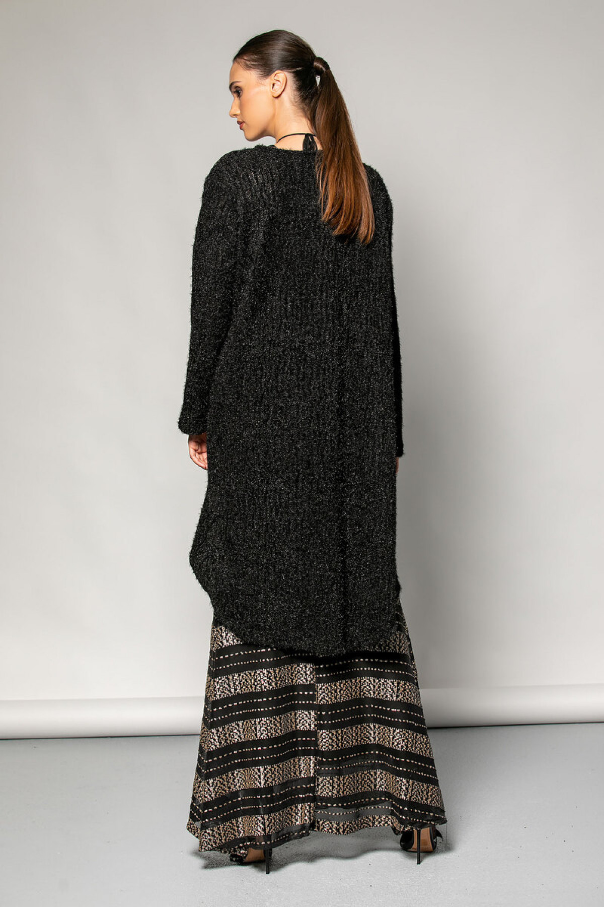 BLACK LONG KNIT CARDIGAN WITH SEQUINS