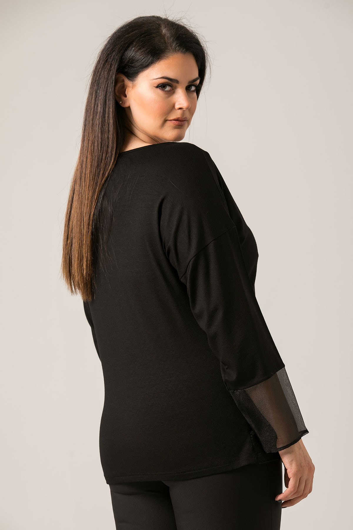 BLACK LONGSLEEVE EMBELLISHED BLOUSE