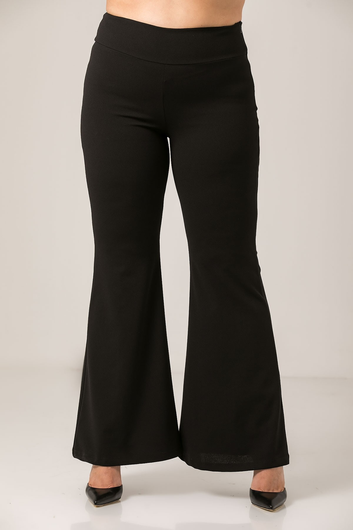 BLACK JERSEY FLARED TROUSERS