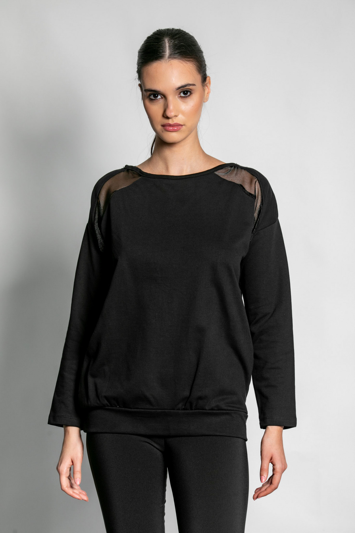 SWEATSHIRT WITH SHEER BACK