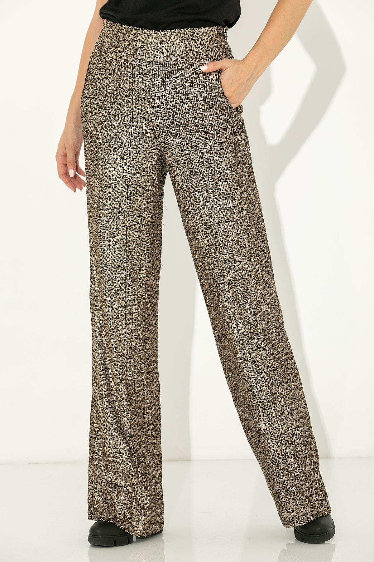 GOLD HIGH WAIST SEQUIN TROUSERS