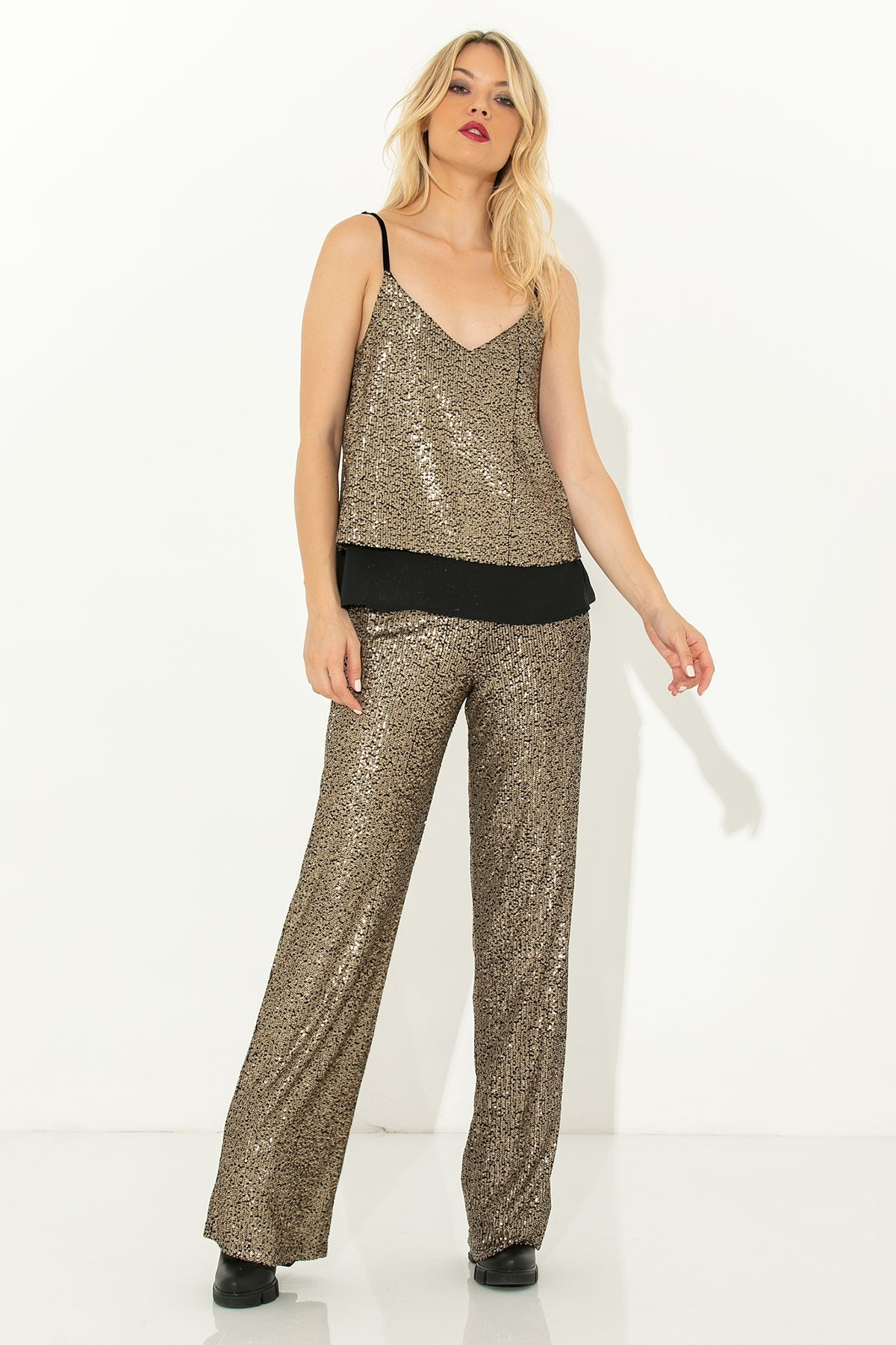 GOLD SEQUIN STRAP TOP