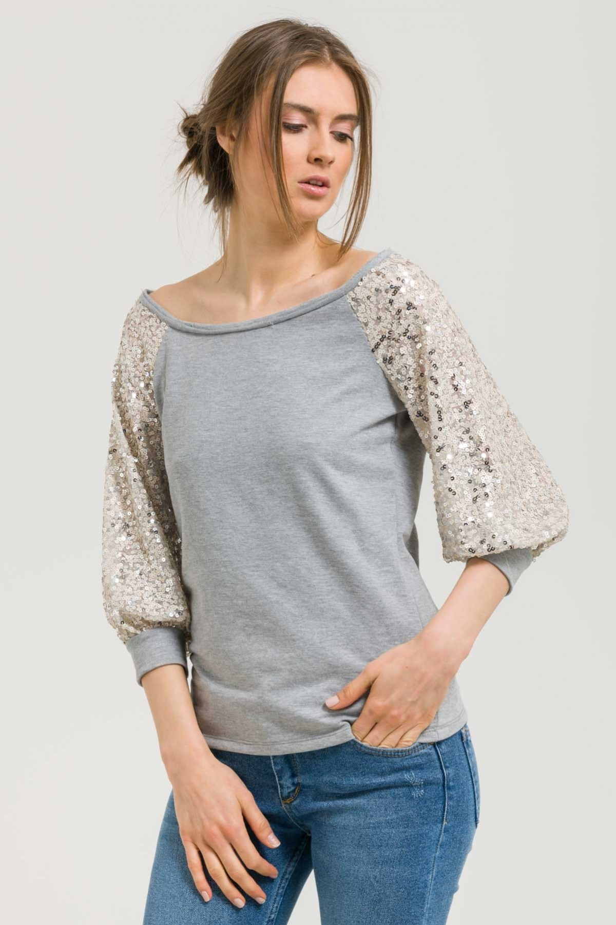 GREY SEQUIN SLEEVE SWEATSHIRT