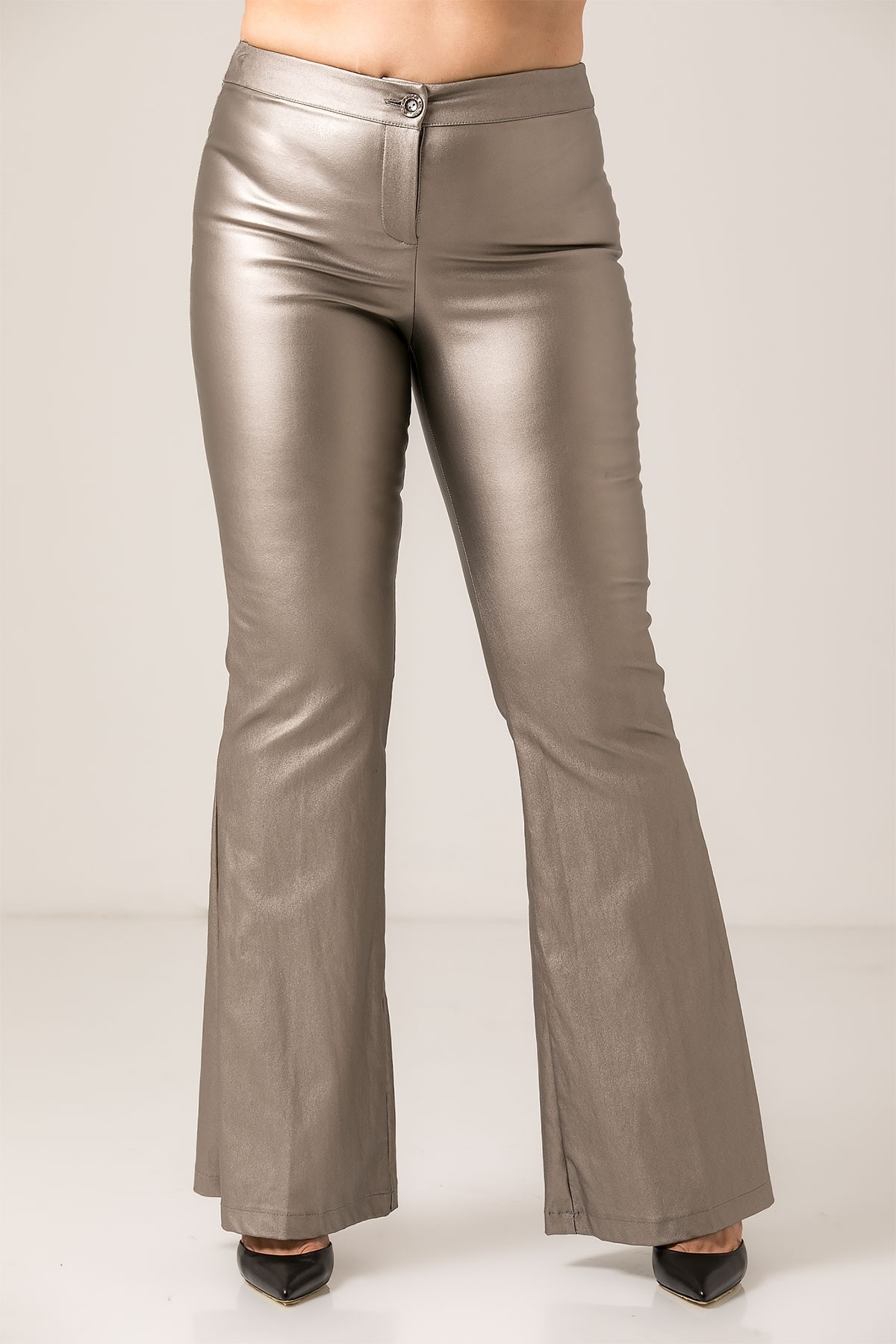 METALLIC SILVER FLARED TROUSERS