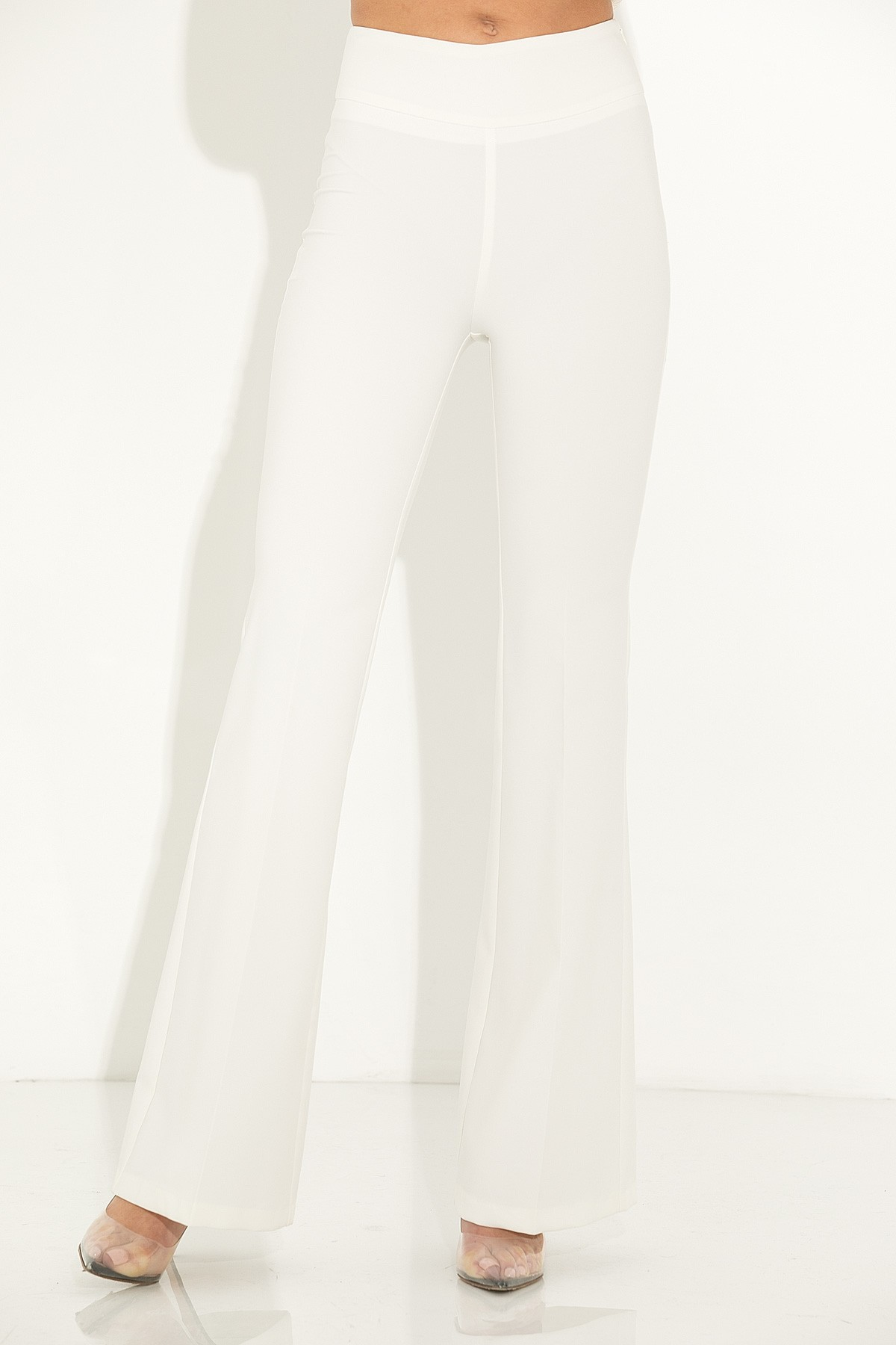 OFF WHITE HIGH WAISTED FLARED PANTS