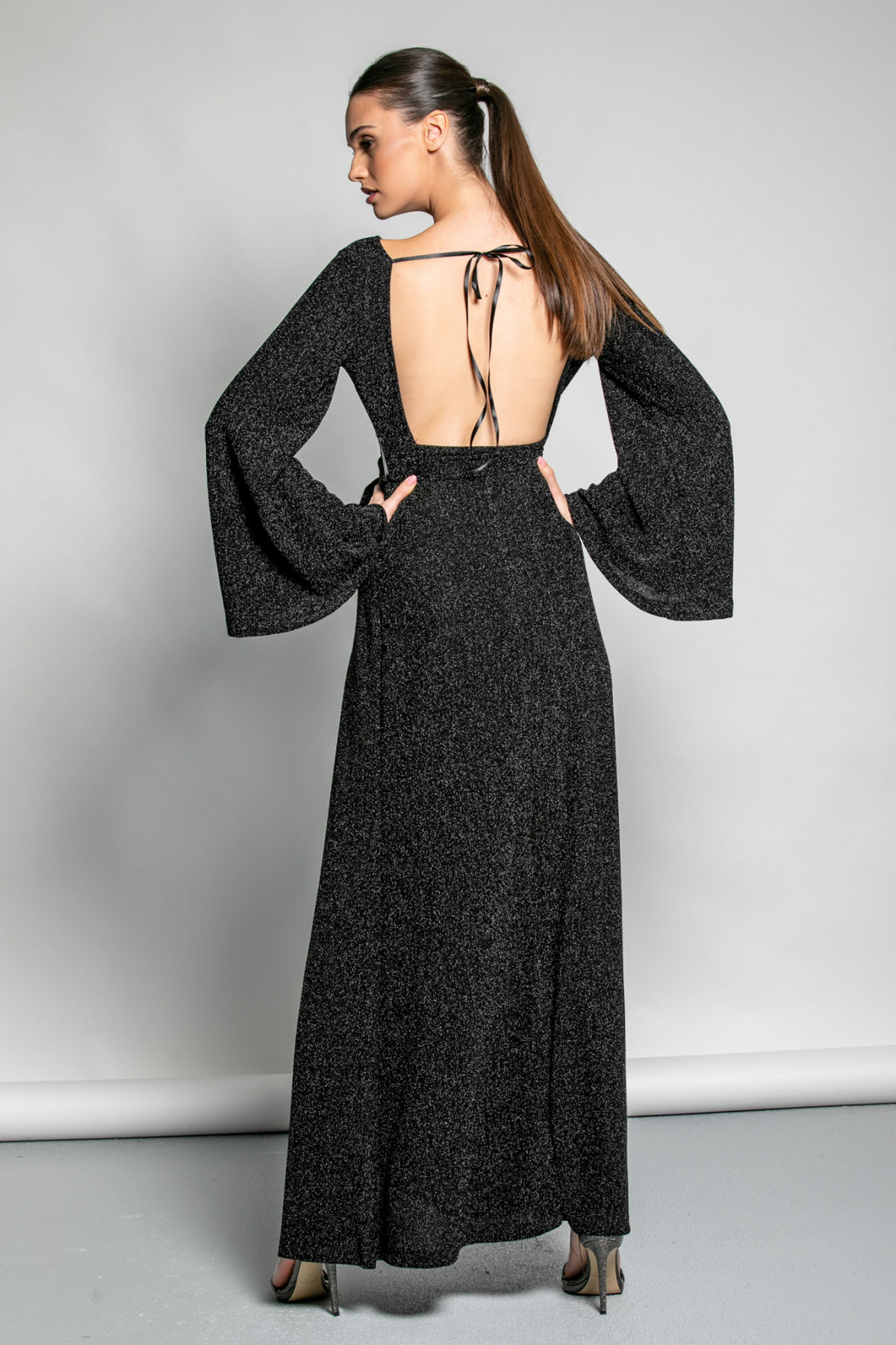 BLACK MAXI LUREX DRESS