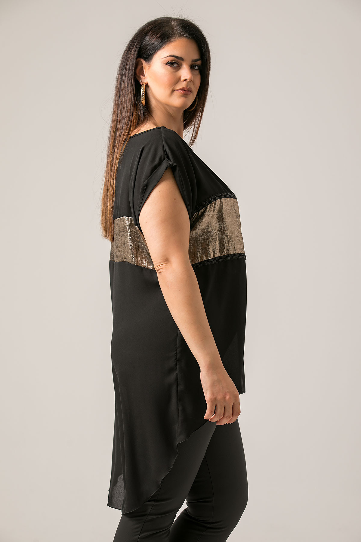 BLACK HIGH LOW CHIFFON BLOUSE