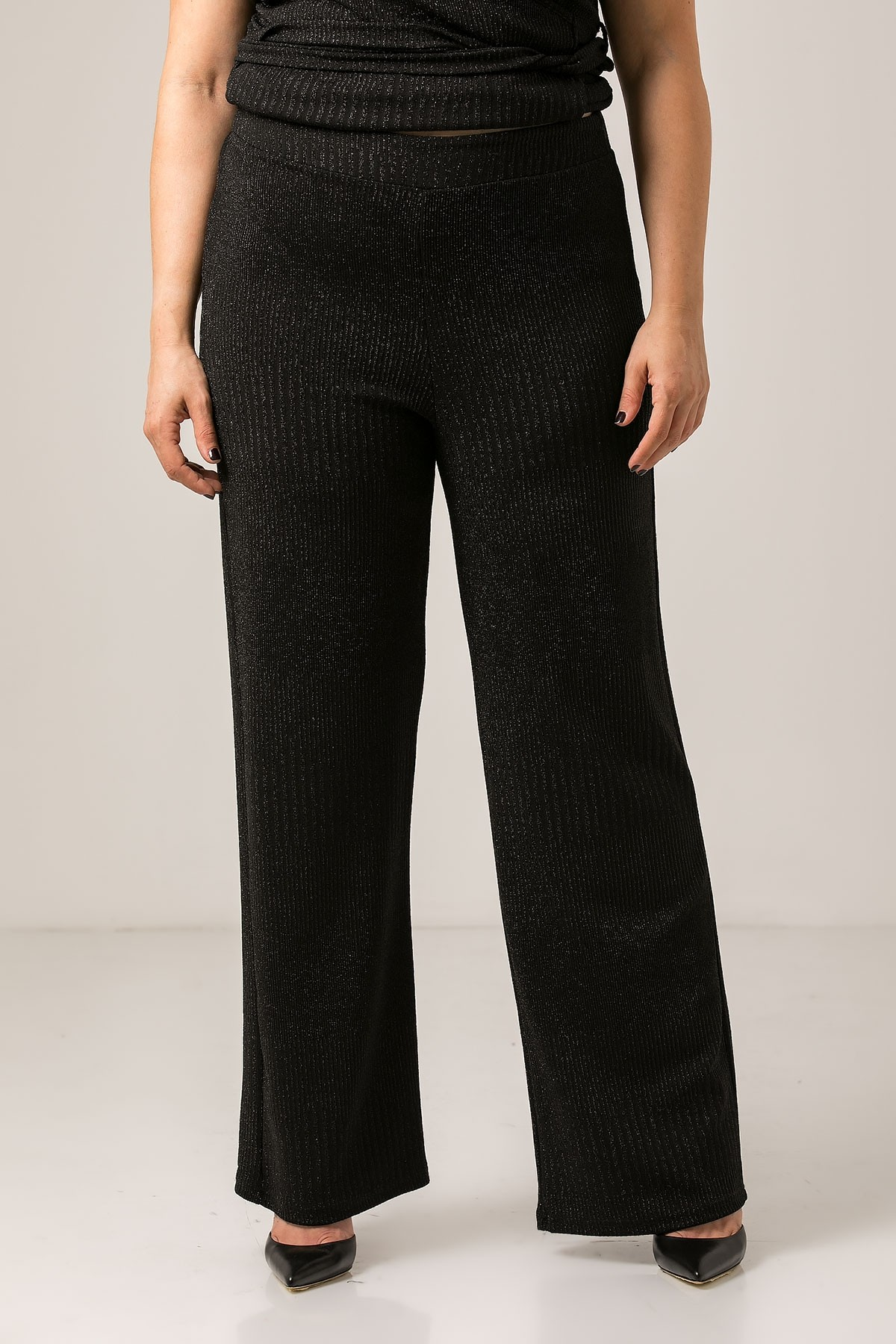 BLACK LUREX WIDE LEG TROUSERS