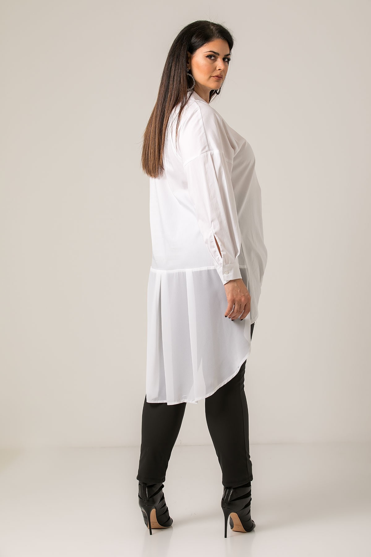 WHITE HIGH LOW LONGSLEEVE SHIRT