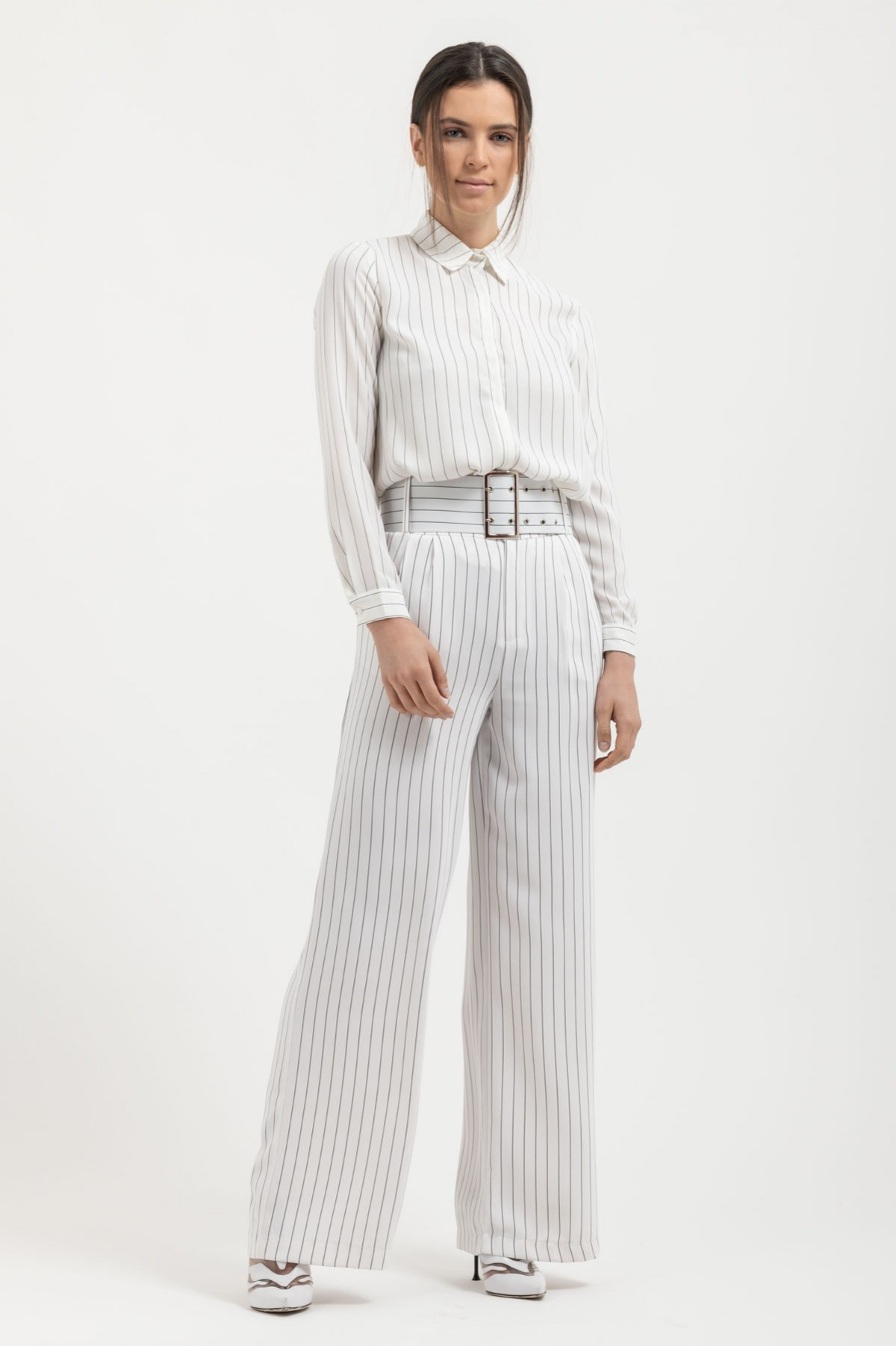 WHITE STRIPED WIDE LEG TROUSERS