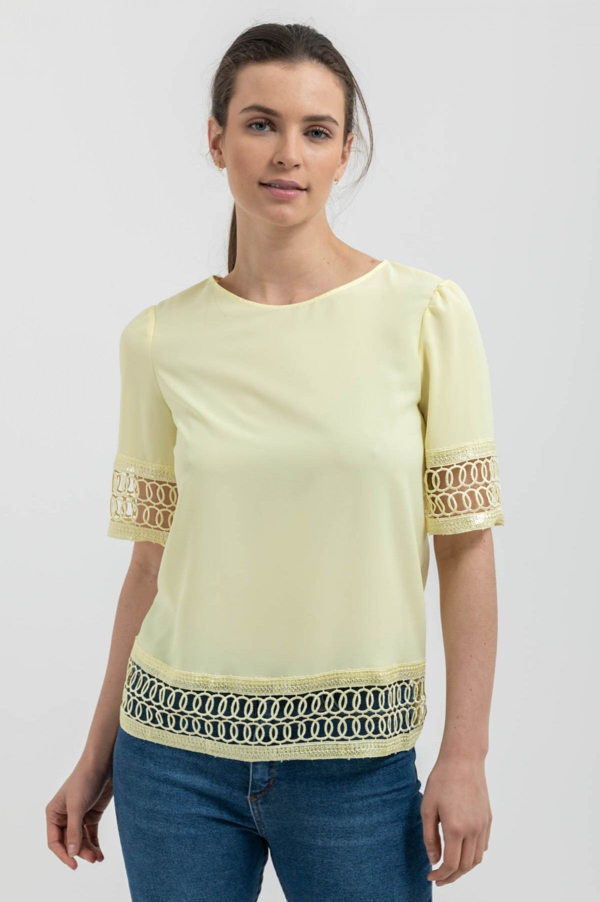 YELLOW TOP WITH LACE