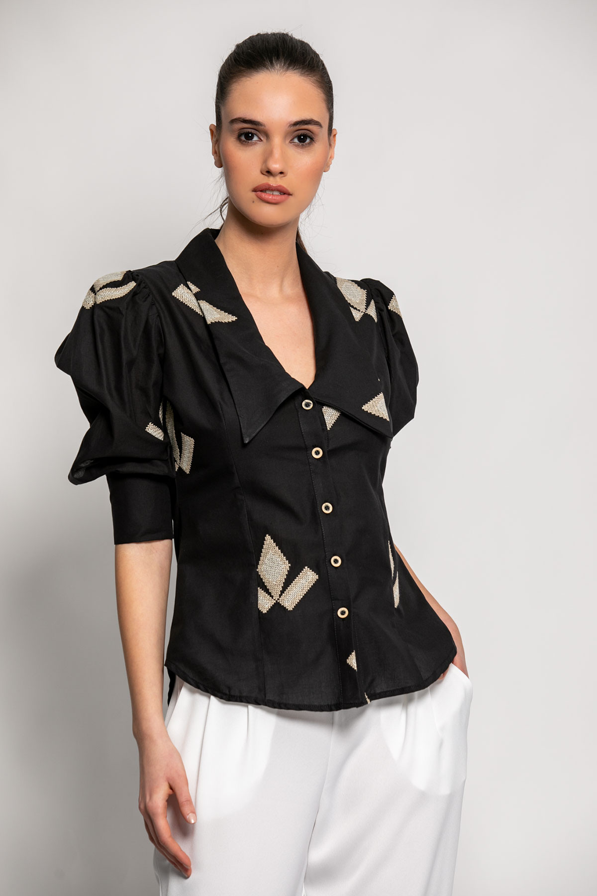 BLACK EMBROIDERED COTTON SHIRT