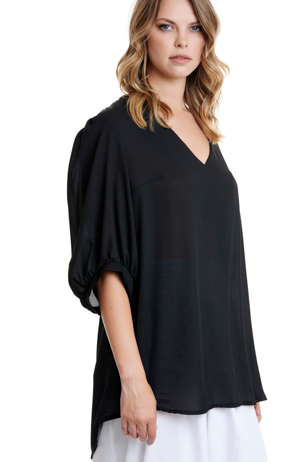 BLACK LONG CHIFFON BLOUSE