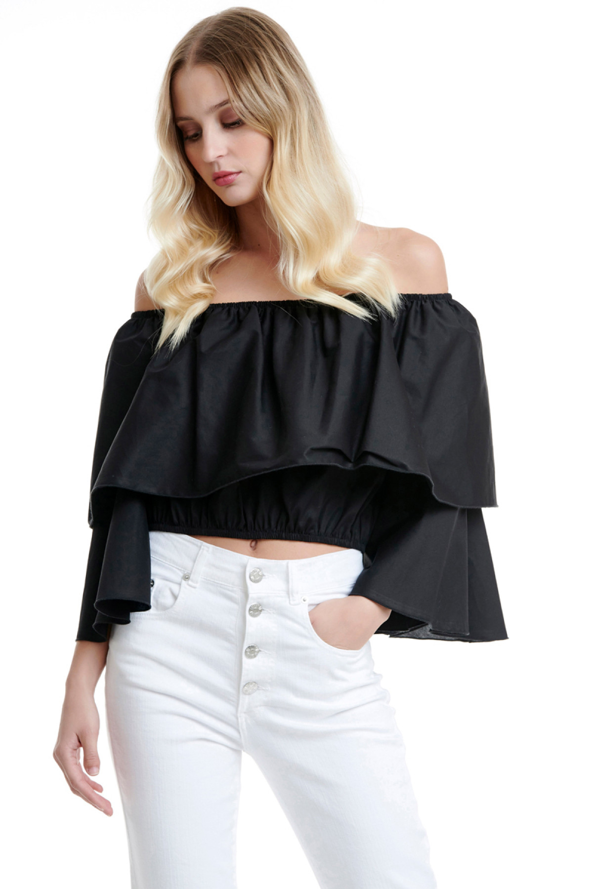 BLACK OFF SHOULDER RUFFLE TOP