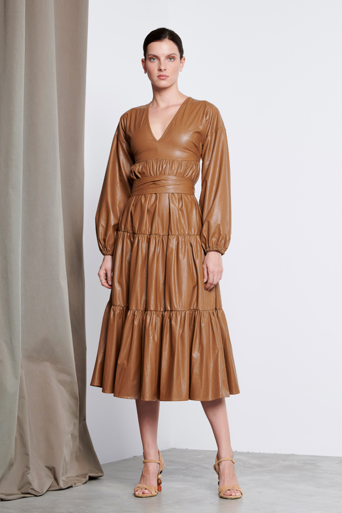 CARAMEL MIDI RUFFLE LEATHER DRESS