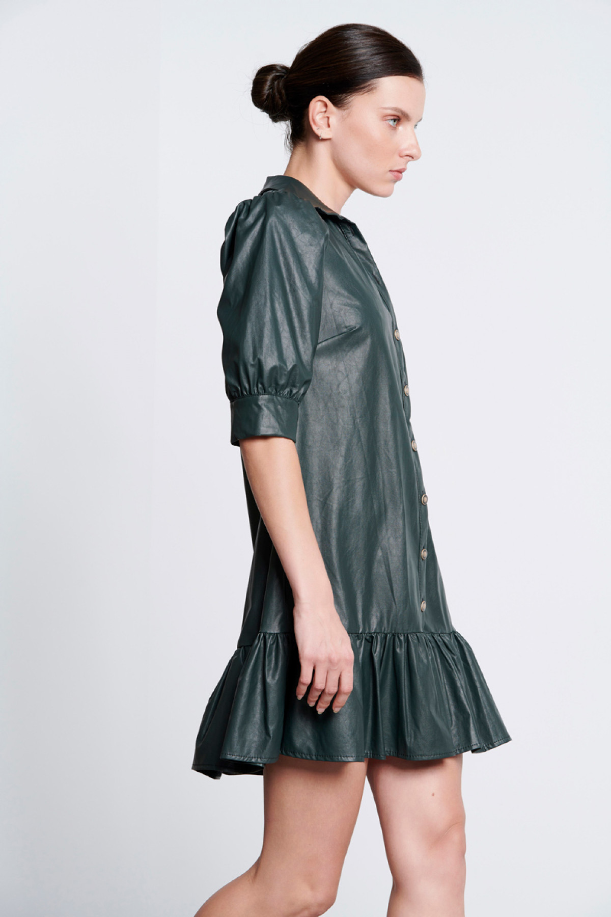 DARK GREEN VEGAN LEATHER SHIRT DRESS
