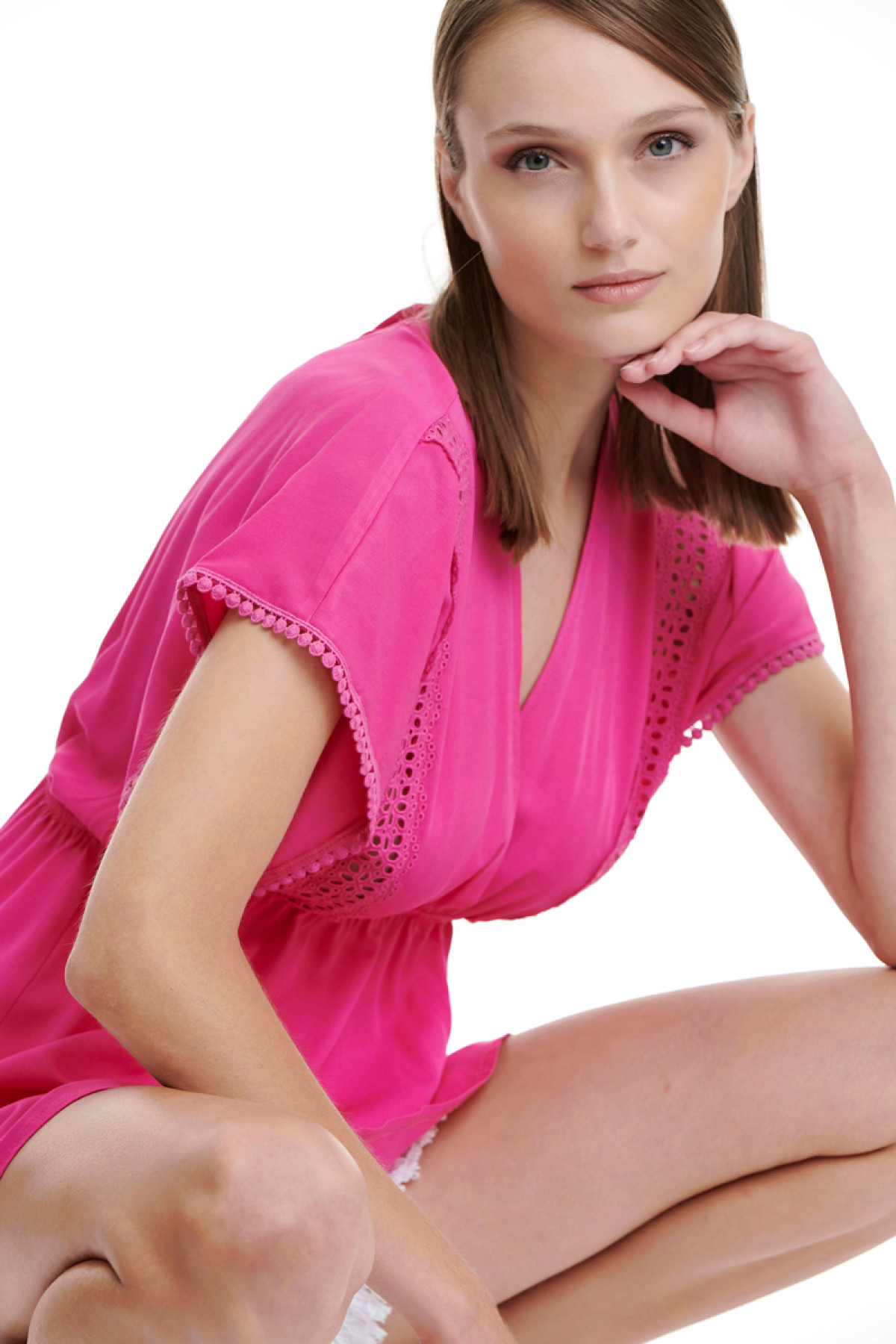 FUCHSIA LONG LACE-TRIMMED TOP