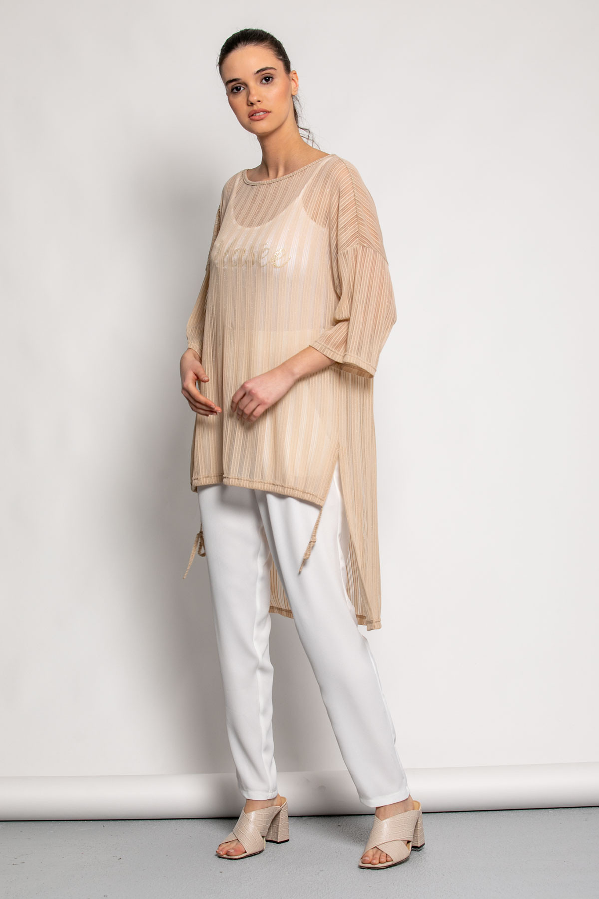 HIGH LOW BEIGE BLOUSE