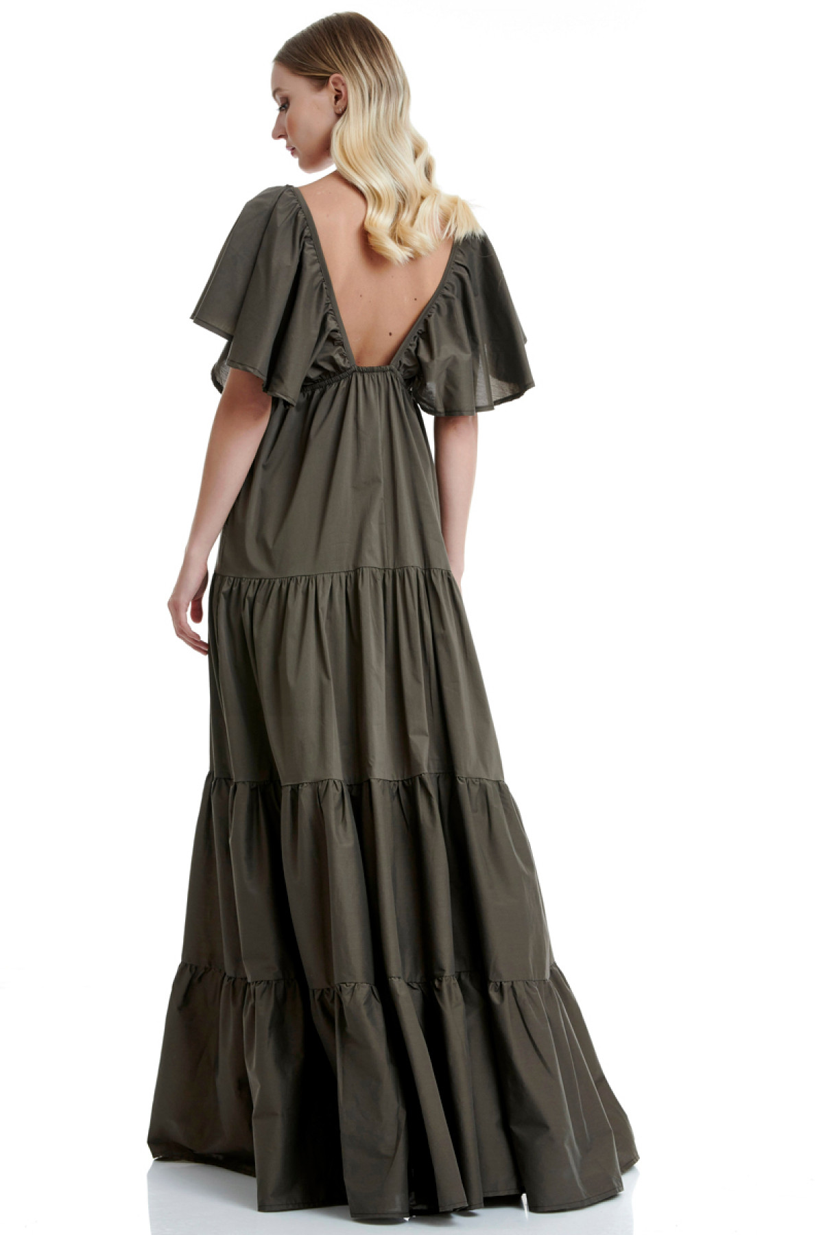 KHAKI LONG POPLIN DRESS