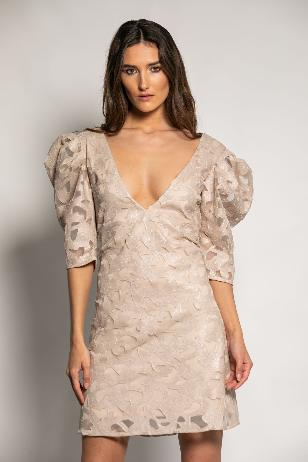 BEIGE EVENING LACE DRESS
