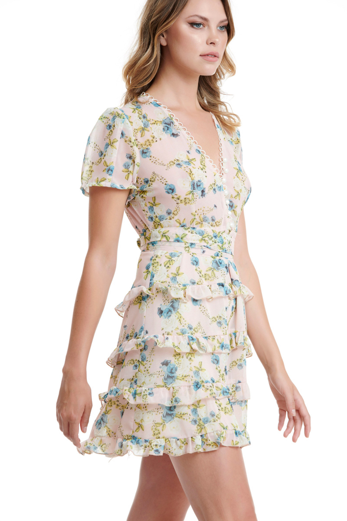 MINI FLORAL CHIFFON DRESS