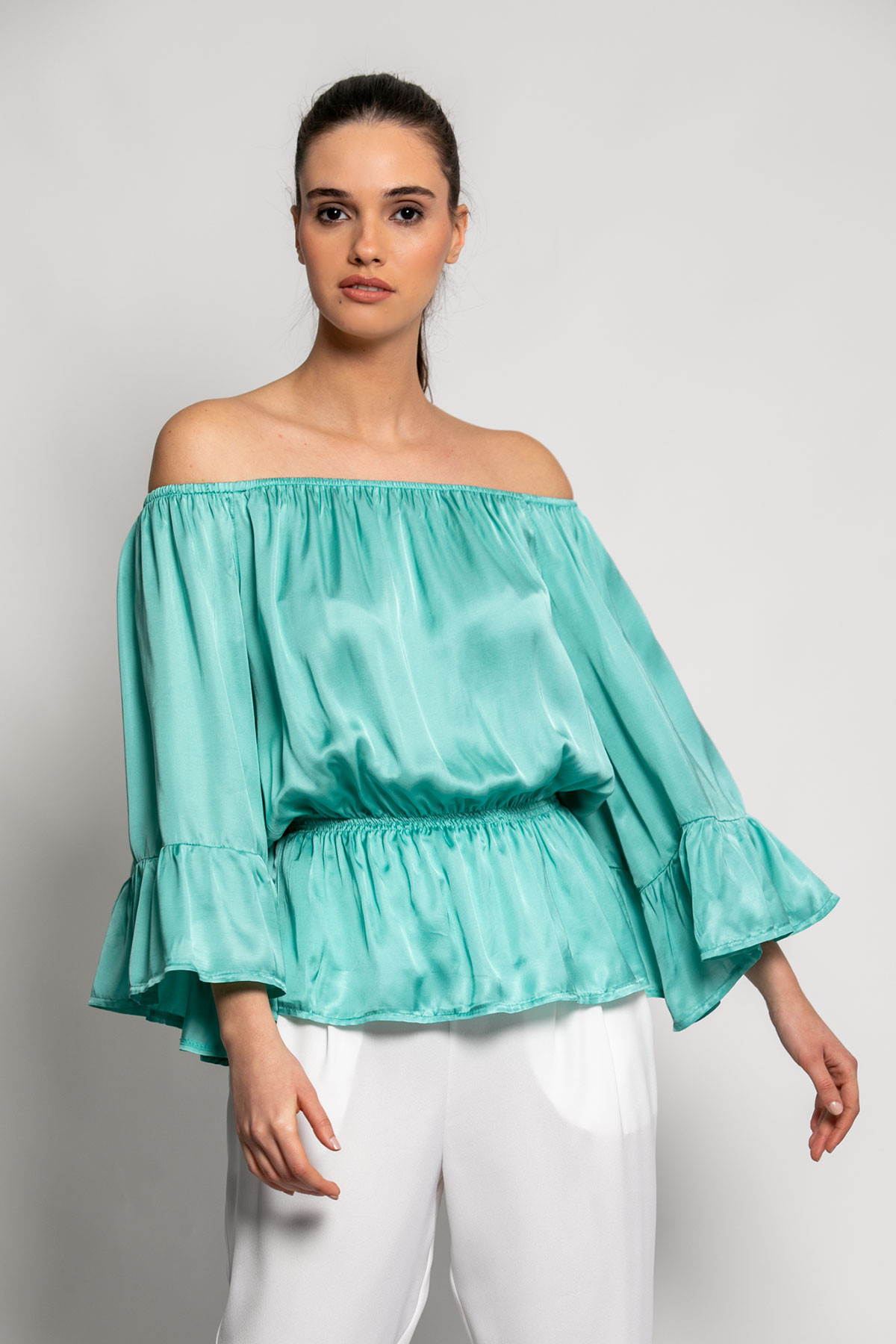 OFF SHOULDER SATIN RUFFLE TOP-mint