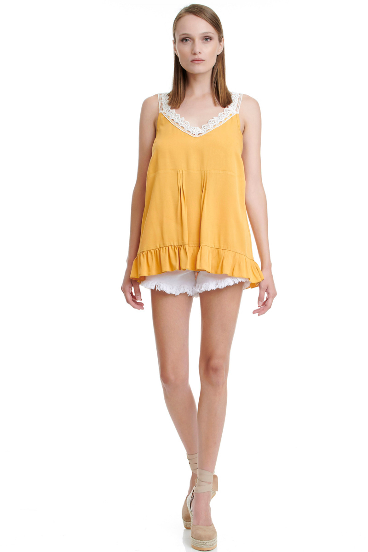 OCHER TOP WITH LACE STRAPS