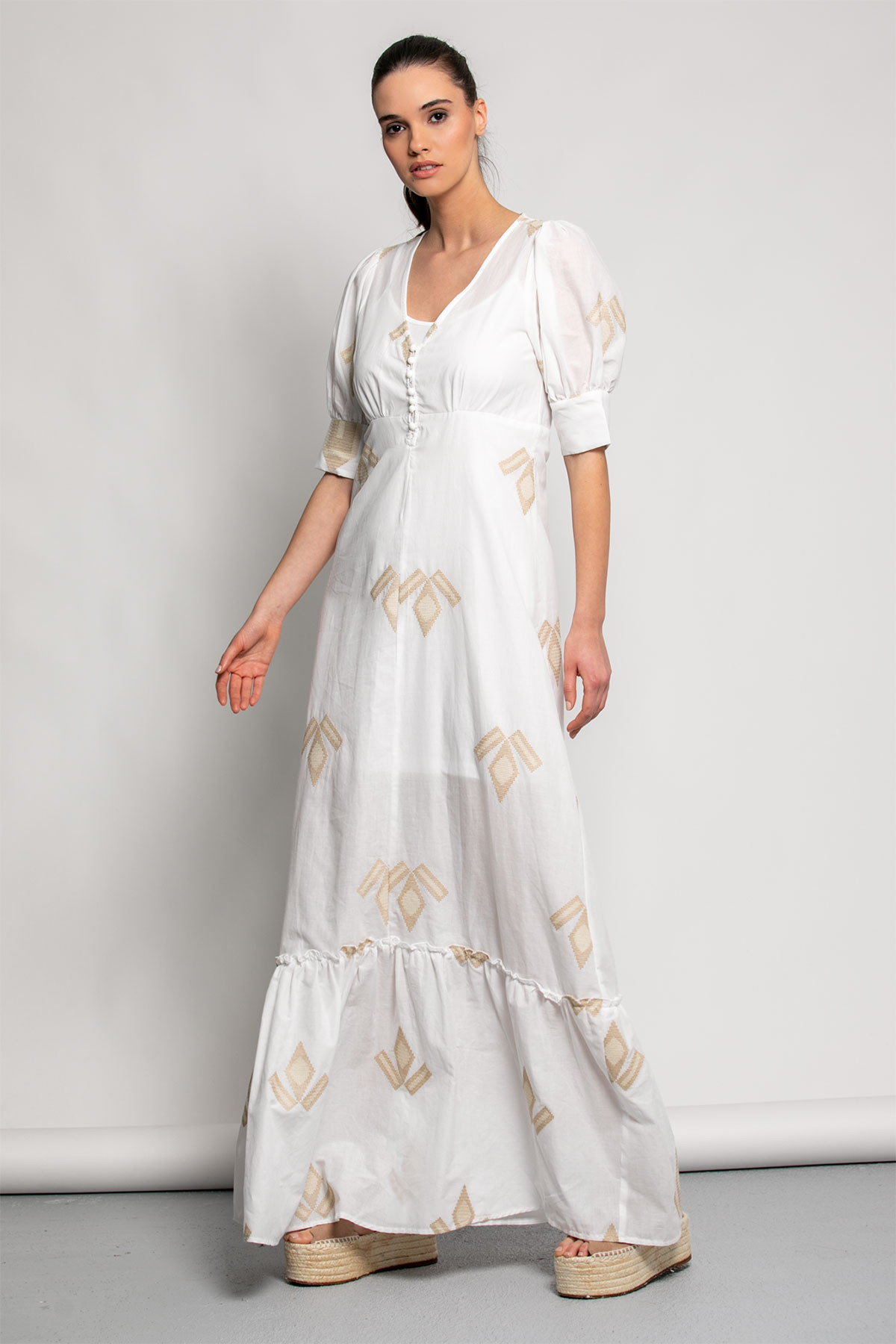 OFF WHITE LONG EMBROIDERED DRESS