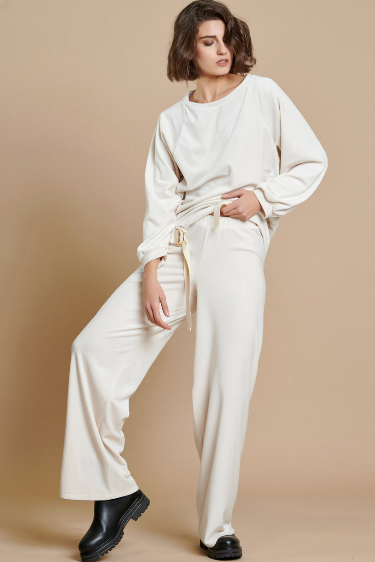 OFF WHITE VELVET WIDE LEG TROUSERS