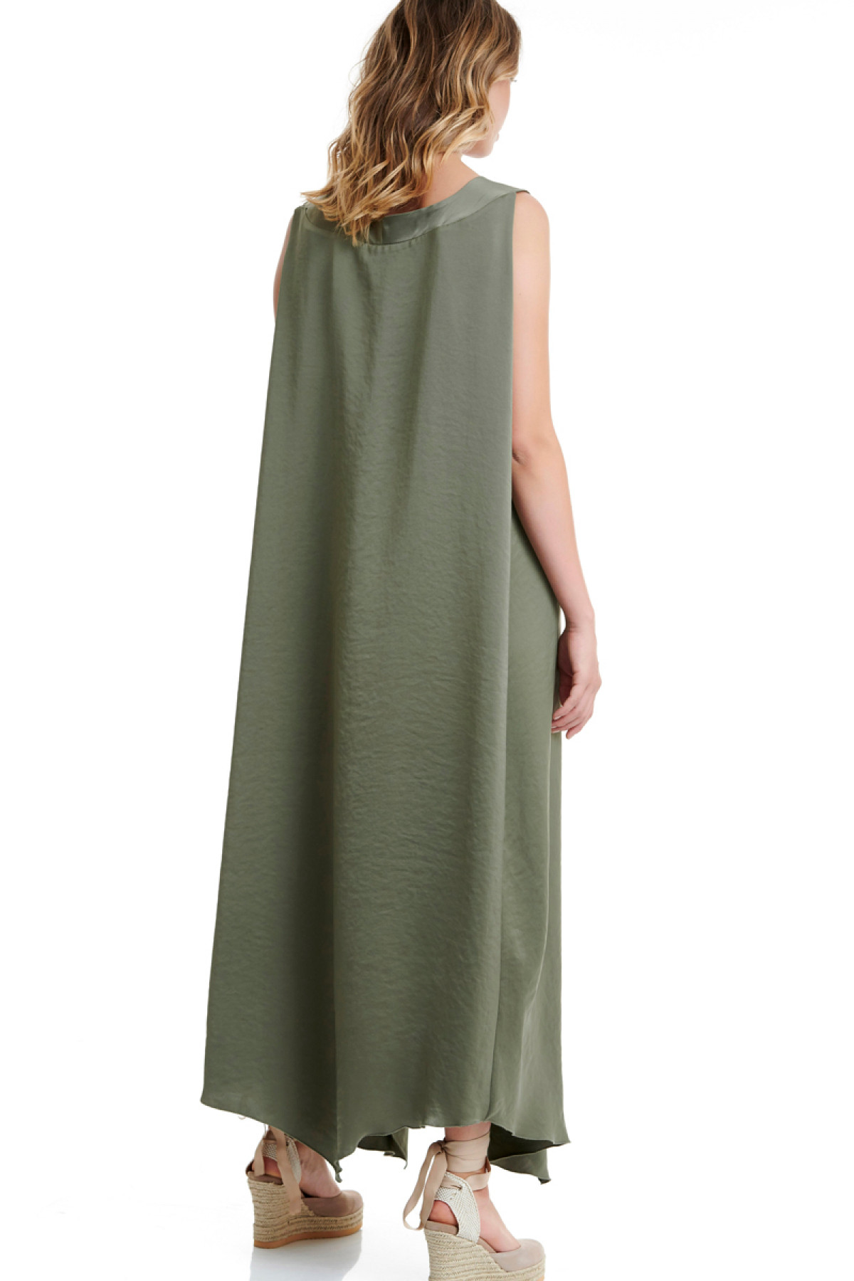 LONG OLIVE GREEN OVERSIZED DRESS