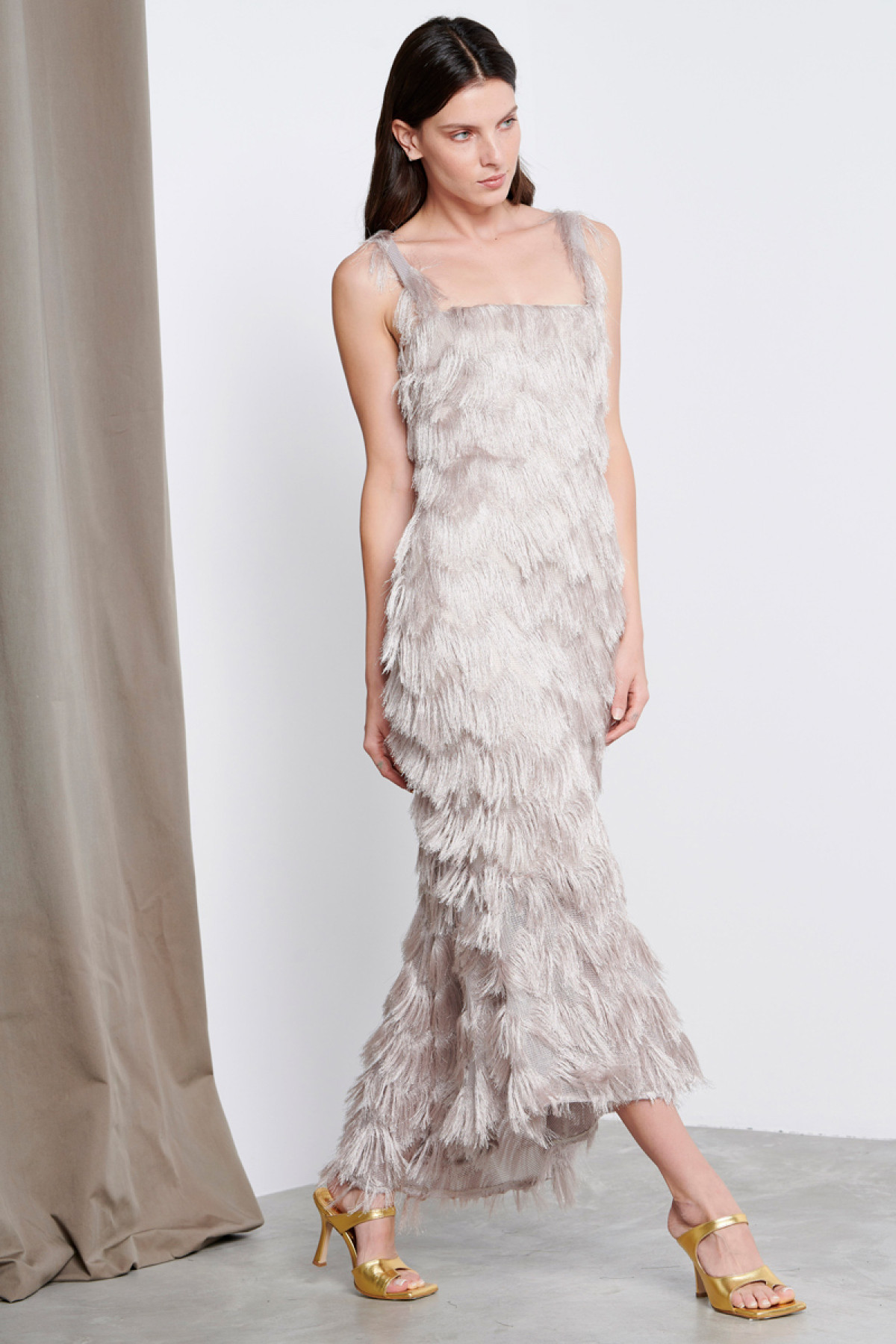 SILVER MIDI OCCASION FRINGE DRESS