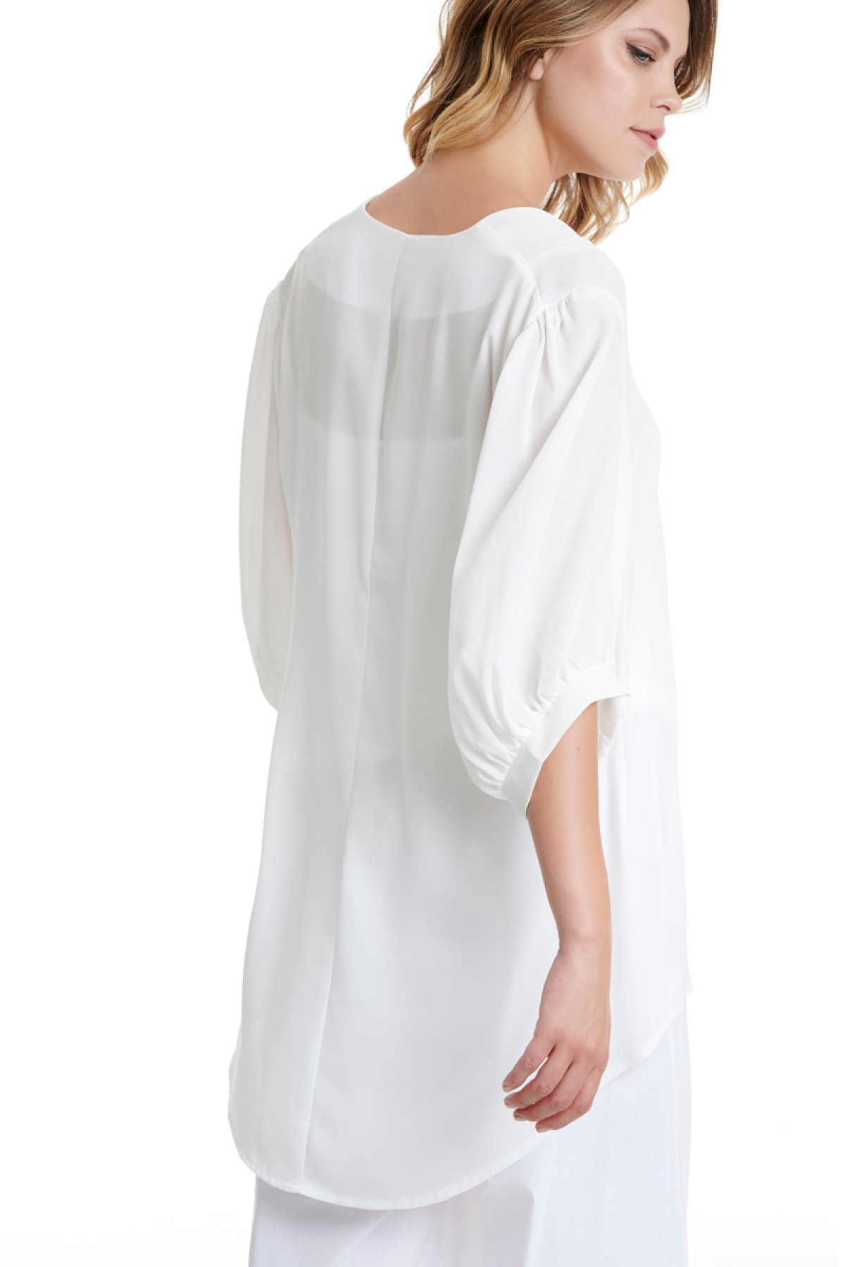 WHITE LONG CHIFFON BLOUSE