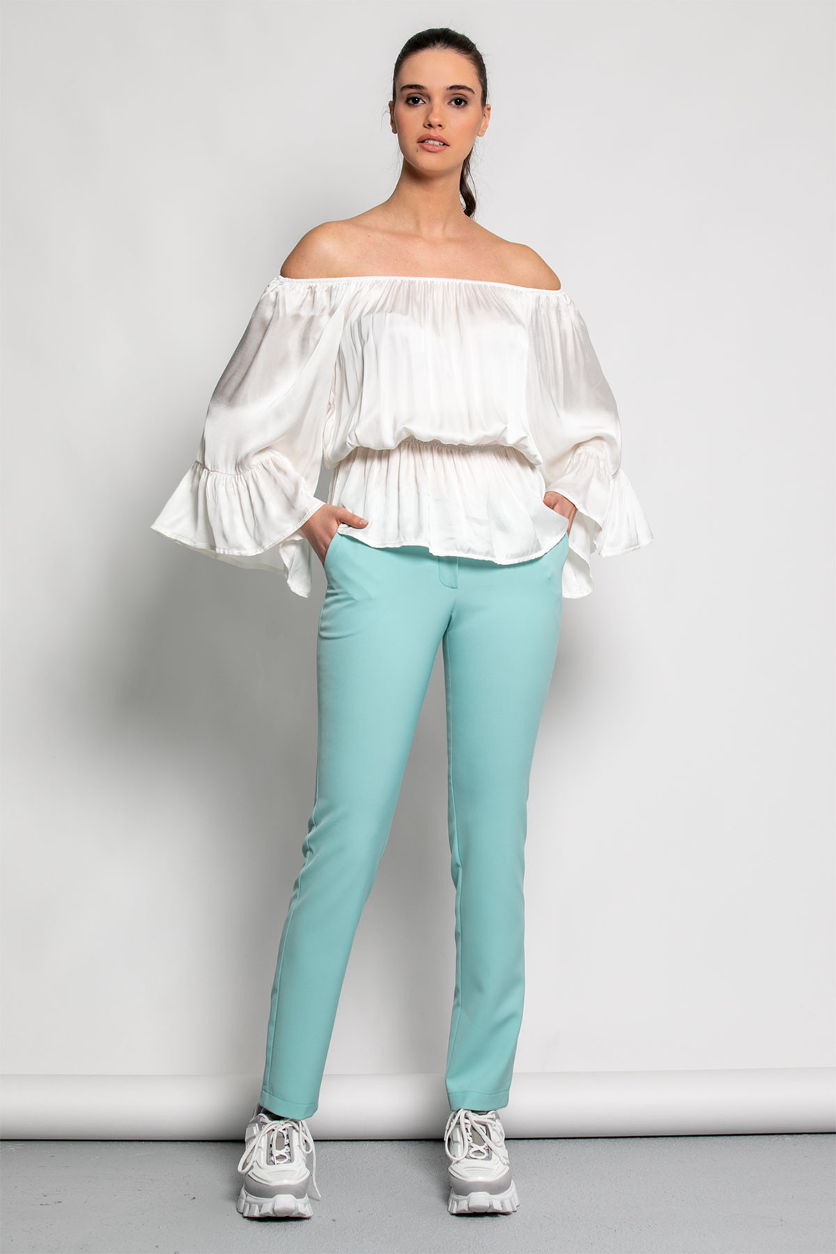 OFF SHOULDER SATIN RUFFLE TOP-off white