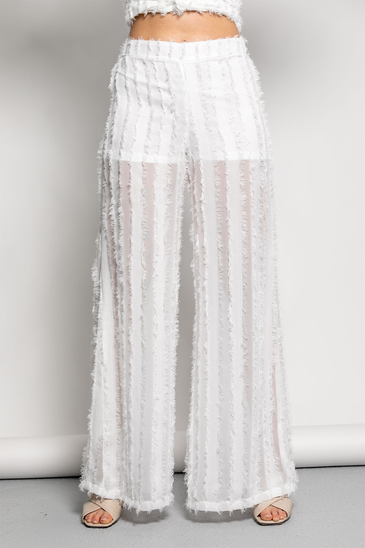 OFF WHITE WIDE LEG FRAYED PANTS