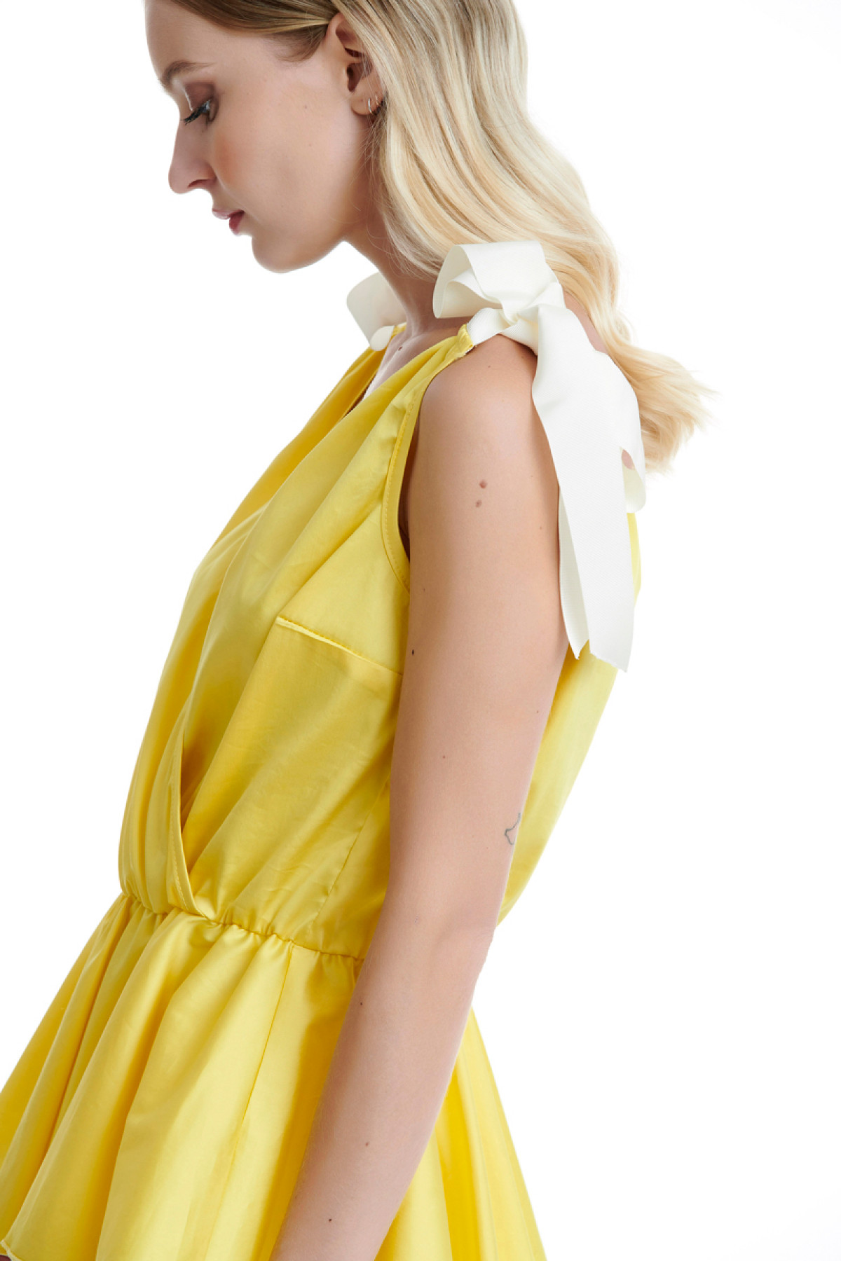 YELLOW WRAP TOP WITH BOWS
