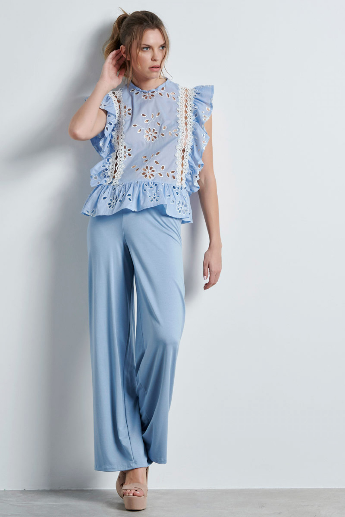 BRODERIE RUFFLE TOP IN BABY BLUE