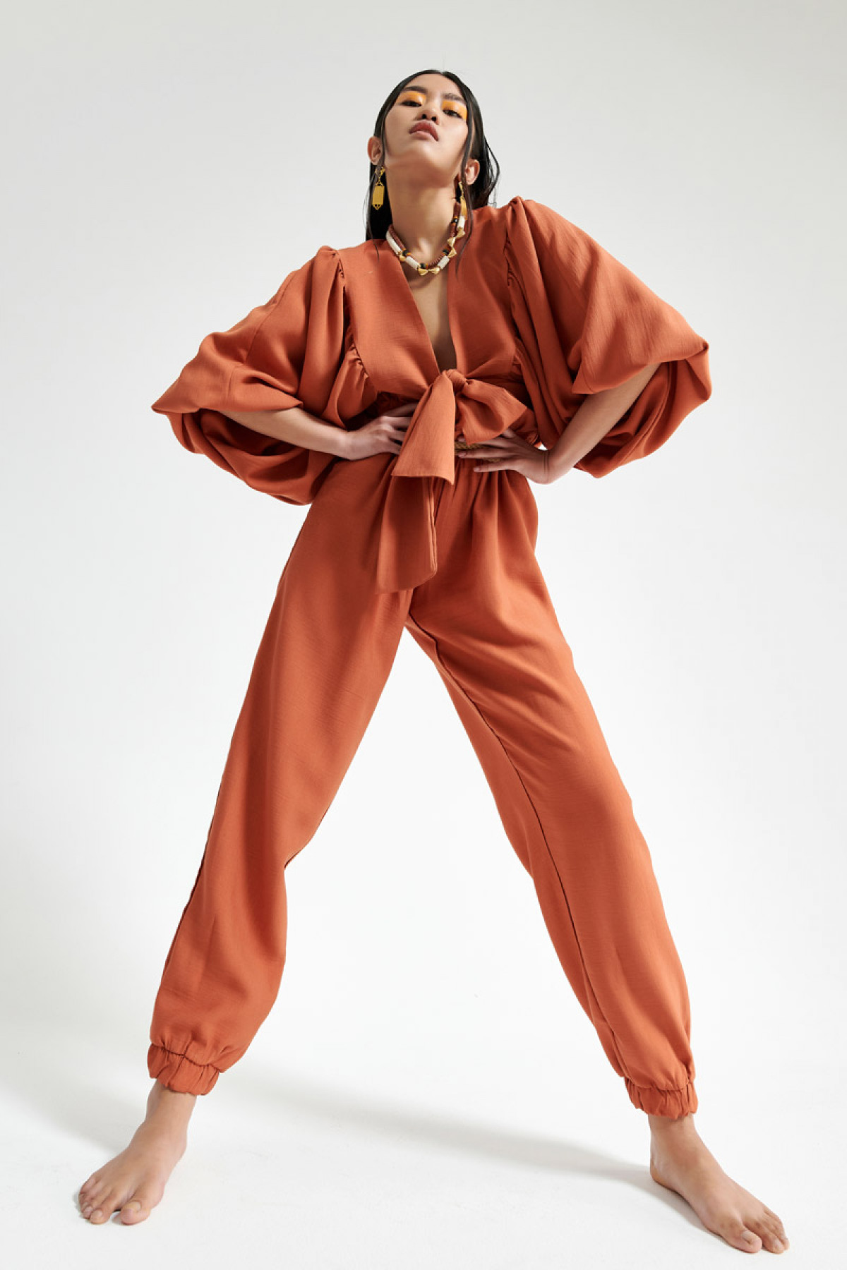 HIGH WAIST PAPERBAG TROUSERS IN TERRACOTTA