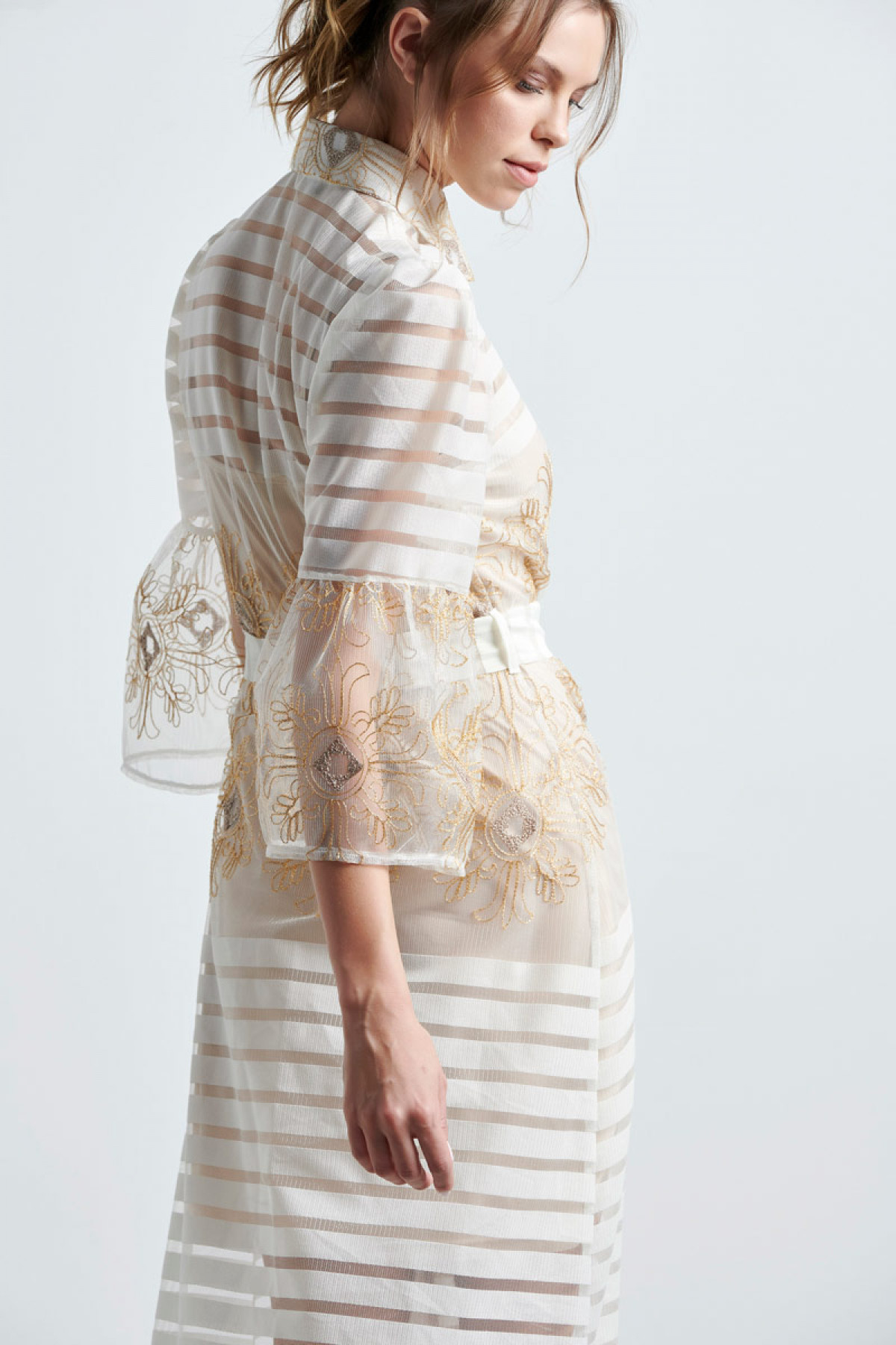 MAXI EVENING SHIRT DRESS IN OFF WHITE