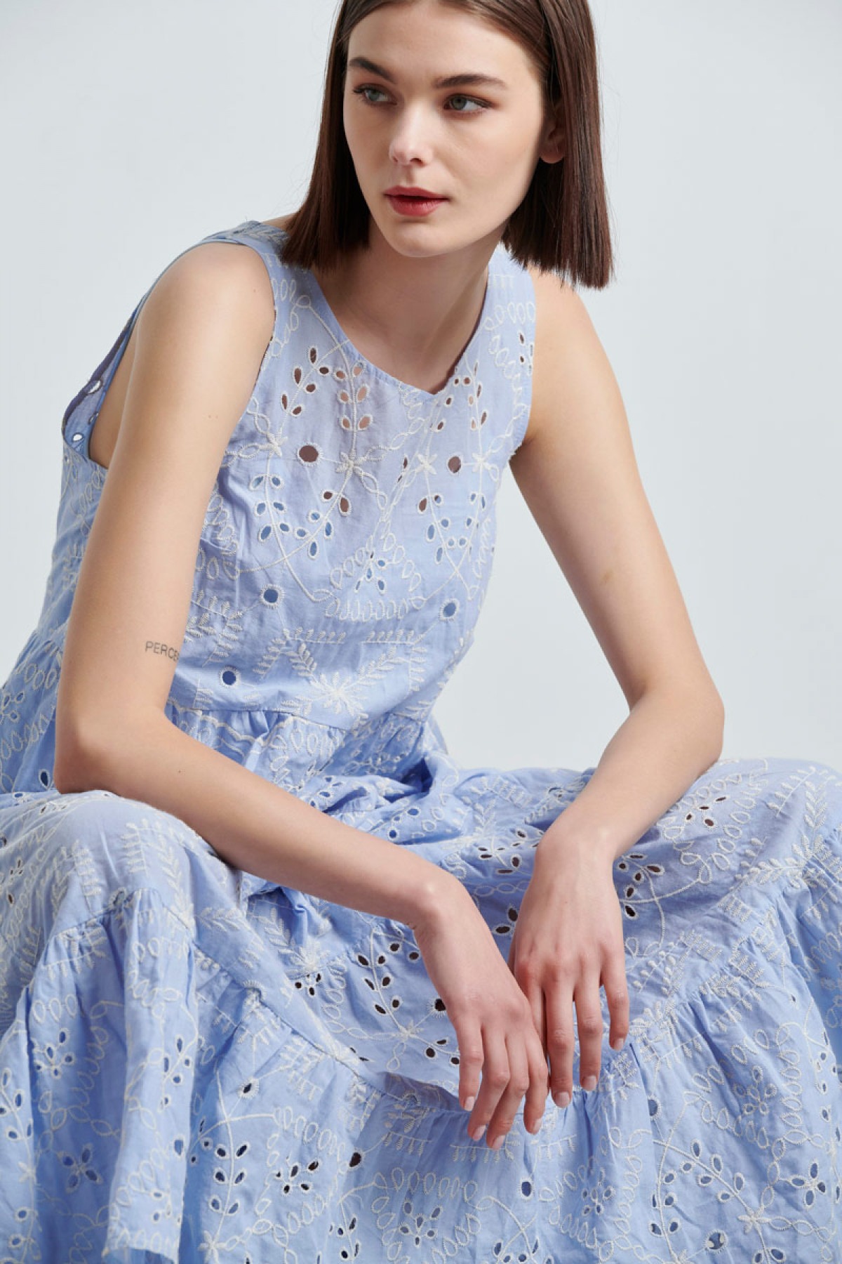 MIDI BROIDERIE DRESS IN BABY BLUE