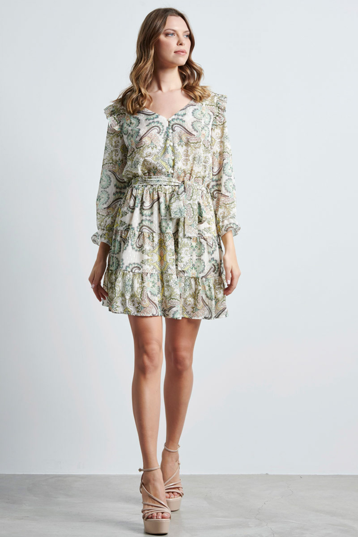 MINI PAISLEY CHIFFON DRESS