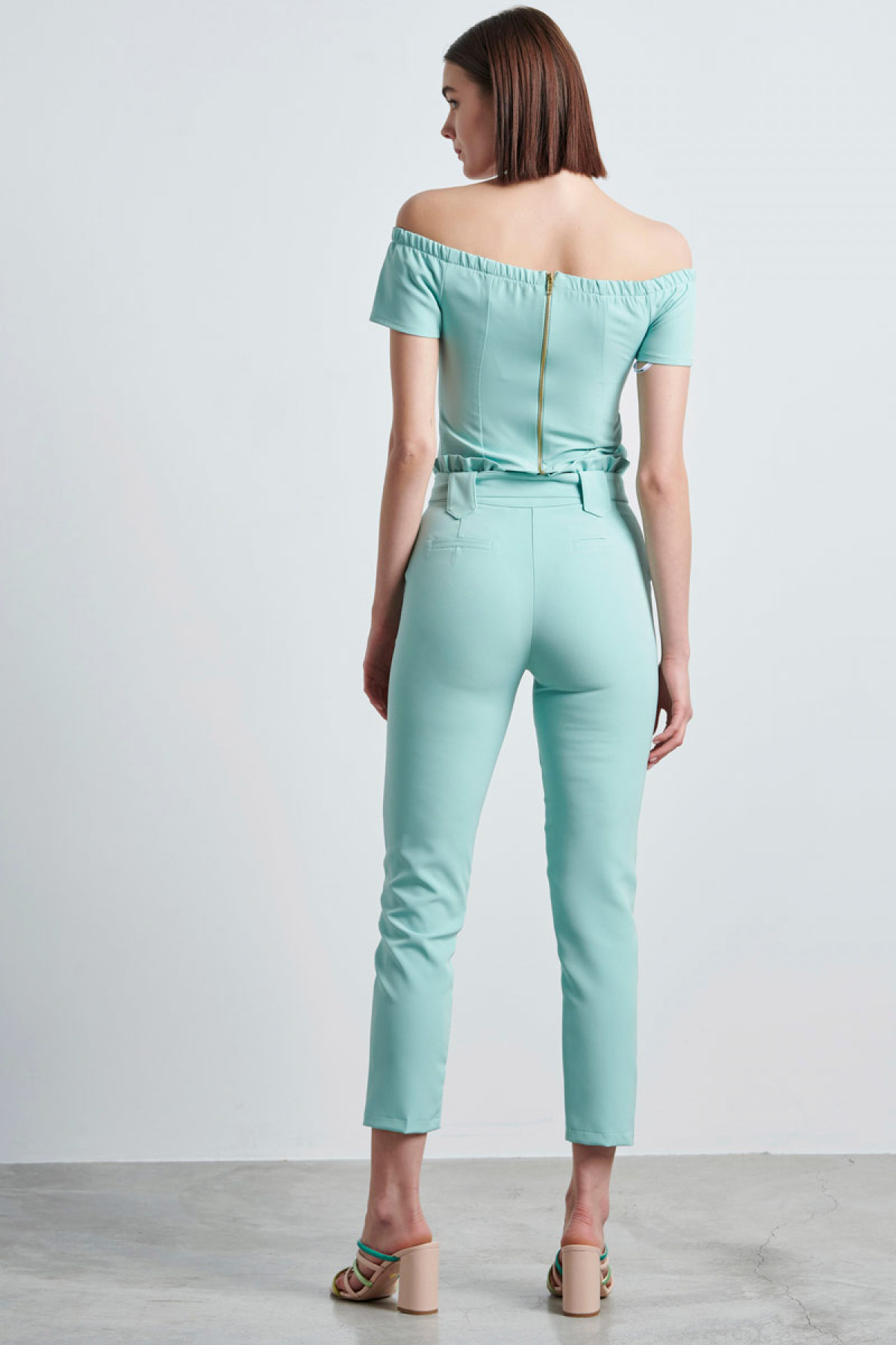 HIGH WAIST PAPERBAG TROUSERS IN MINT