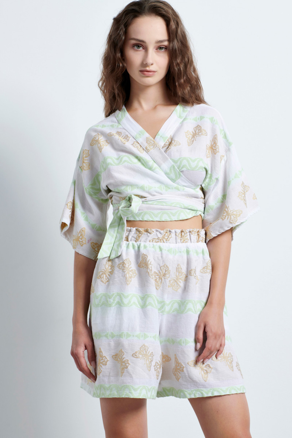 SELF-TIE JACQUARD CROP TOP WITH GREEN NEON DETAILING