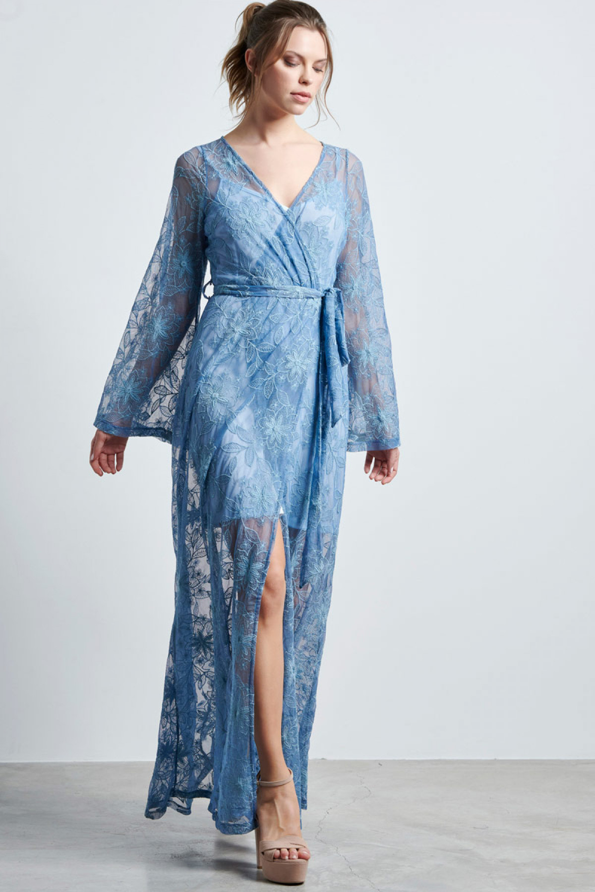 LACE WRAP MAXI DRESS IN BLUE