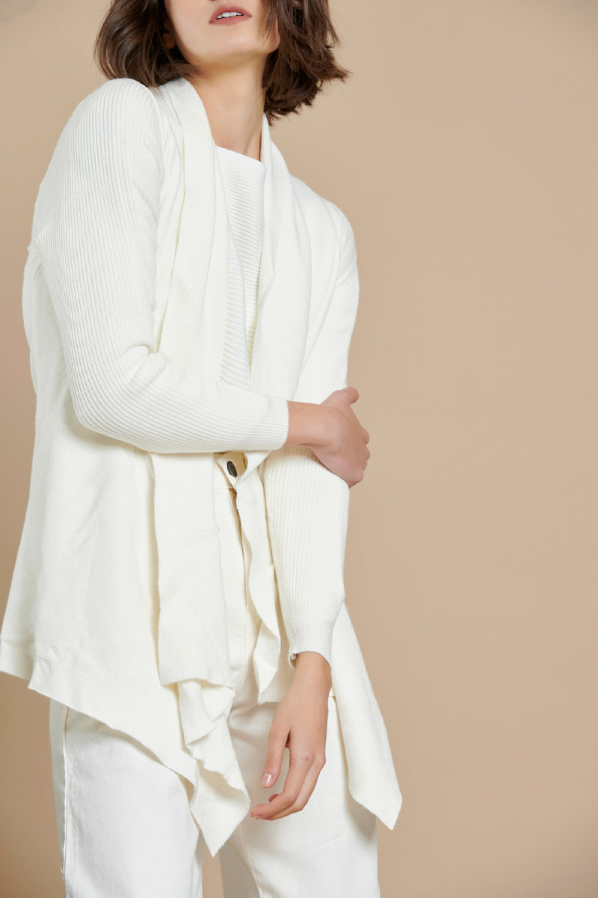 OFF WHITE ASYMMETRIC CARDIGAN