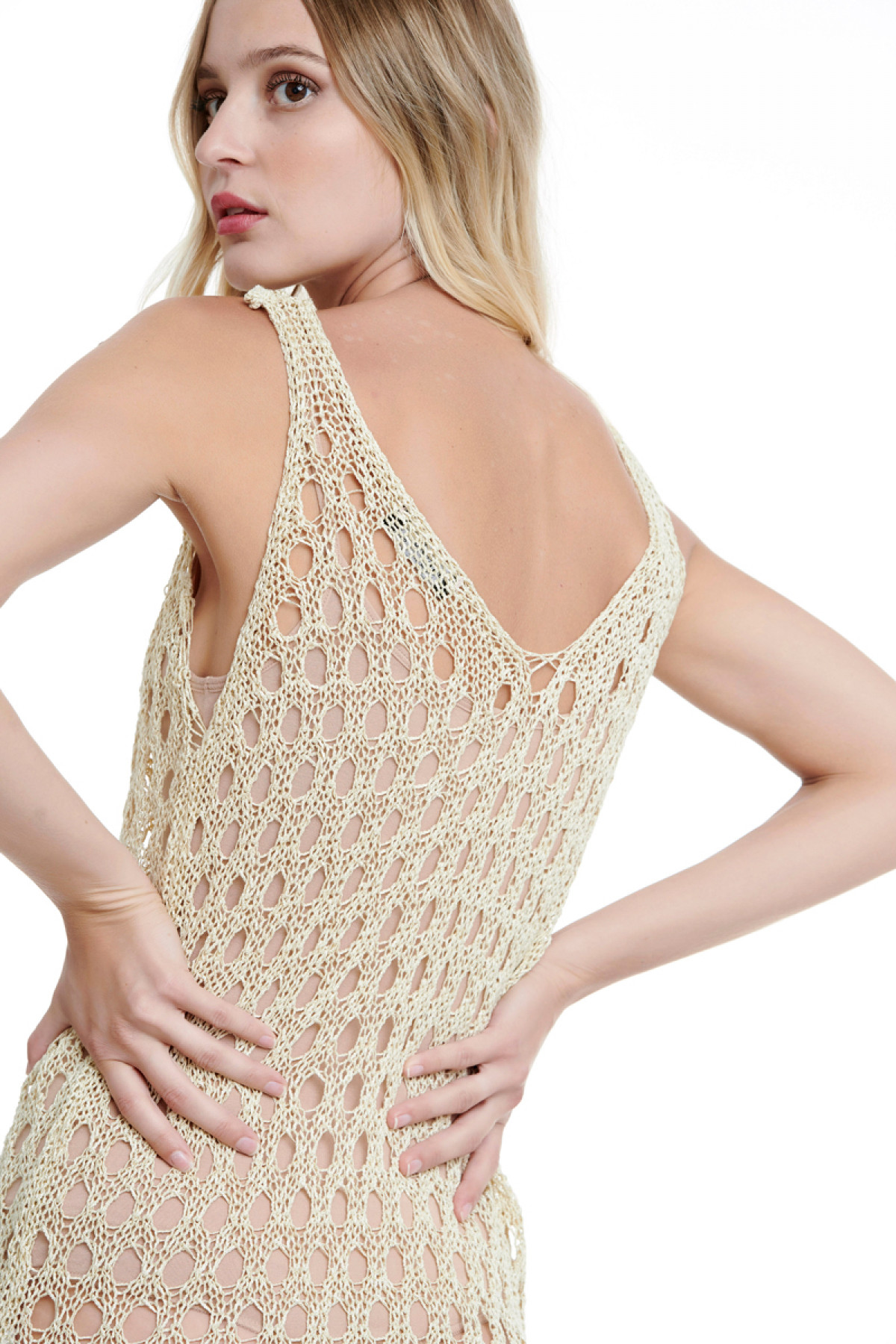 BEIGE LONG CROCHET BEACH DRESS